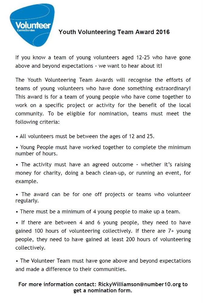 Youth Volunteering Team Award 2016 | Cllr Fraser Macpherson